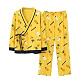 Waofe Pijamas de Mujer Primavera y otoño Nuevos Muebles para el hogar de algodón para Mujer Letras de piña Imprimir Kimono japonés Conjunto Informal-L
