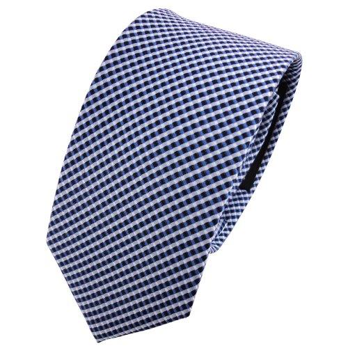 TigerTie - schmale Designer Seidenkrawatte in silber blau gepunktet