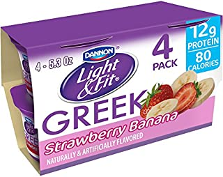 Dannon Light & Fit Original Greek Nonfat Yogurt, Strawberry Banana, 5.3 Ounce (4 Pack) Greek Yogurt Cups