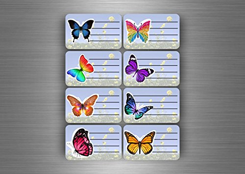 Akachafactory 16 x stickers, zelfklevend, voor schoolboek/boek, mappen, school, vlinder