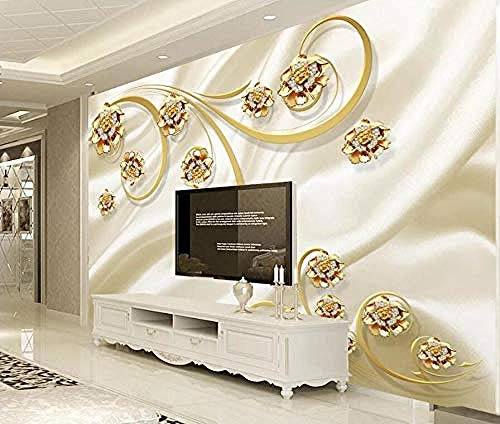ZZXIAO Gold European Pattern Jewelry Flower Modern Photo Wallpaper 3D Living Room Furnishing Silk Cloth Mur Non-Woven Silk 3D Wallpaper Paste Living Room The Wall for Bedroom Mural border-430cm×300cm