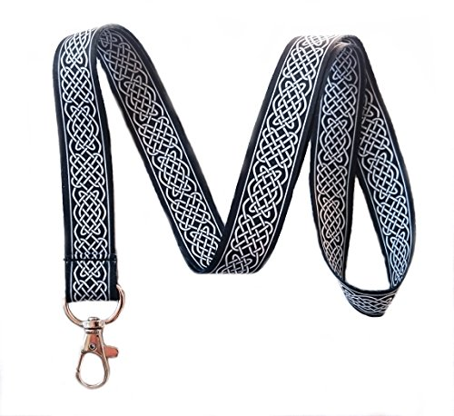 Black Celtic Knot Print Lanyard Key Chain Id Badge Holder