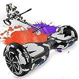 Mega Motion Hoverboard mit Sitz, Hoverboards mit Hoverkart, Self Balance Scooter mit Hoverkart 6,5 Zoll Hoverboard für Kinder,mit Bluetooth-Lautsprecher und LED-Leuchten,Geschenk für Kinder