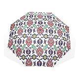 LASINSU Paraguas Resistente a la Intemperie,protección UV,Azulejos de Mosaico Turco marroquí otomano clásico Antiguo Arte de cerámica