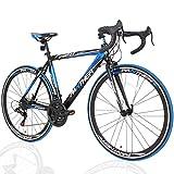 PANTHER (パンサー) ロードバイク 5色/3サイズ可選 シマノ21段変速 超軽量異型アルミフレーム 700C×25C 適応身長160cm以上 前後ホイールクイックリリース搭載 ドロップハンドル コスパ最強モデル 通勤通学 新生活 入学 就職 お祝いに メーカー保証1年 (Blackブラック/Blueブルー, 520mm(XL))