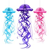 Outus 3 Pieces Paper Honeycomb Paper Jellyfish Lantern Tissue Honeycomb Ball Hanging Decoration, 3 Colors
