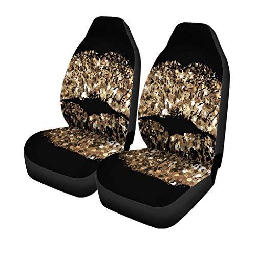 Autostoelhoezen Glam of Kiss Gold Shimmer Sequin Make-up Bling Champagne Set van 2 Beschermers Auto Fit voor Auto