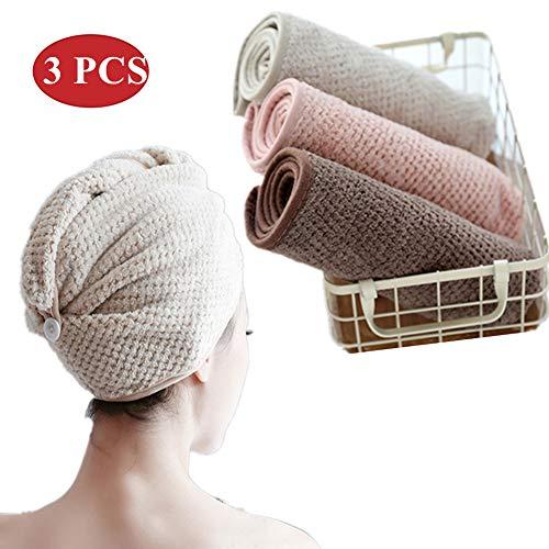BangShou 3 Stück Haarturban Haartrockentuch aus Sanftem Gewirktem Korallenvlies Schnelltrocknend Saugfähig Handtuch Kopftuch für Alle Haartypen