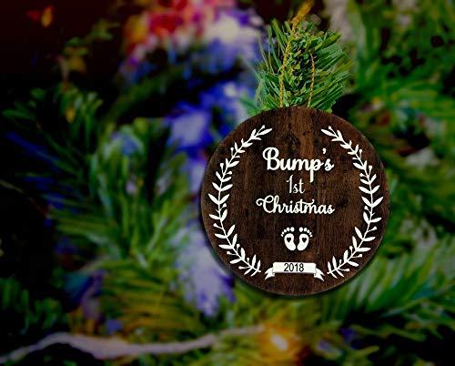 Dozili Baby Bump'S Eerste Kerstmis Ornament Baby Meisje Baby Jongen Eerste Kerstmis Baby Ornament Hout Kerstmis Zwangerschap Gift Baby Bump Magneet