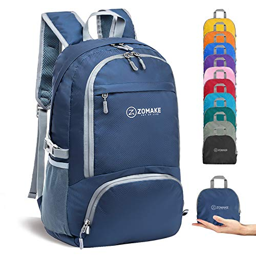 ZOMAKE 30L Lightweight Packable Backpack Water Resistant Hiking Daypack,Small Travel Backpack Foldable Camping Outdoor Bag (Navy Blue)