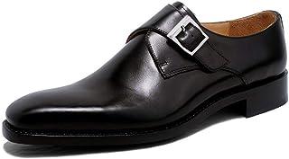 Business Leather Shoes, Mens Hasp Wedding Dress Shoes Classic Monk Shoes,Black-36
