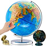 "World Globe with Illuminated Constellations – 13"" Light Up Globe for Kids & Adults –..."