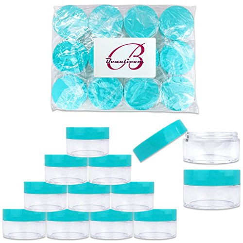 Beauticom 20 gram/20ml Empty Clear Small Round Travel Container Jar Pots with Lids for Make Up Powder, Eyeshadow Pigments, Lotion, Creams, Lip Balm, Lip Gloss, Samples (12 Pieces, Teal)