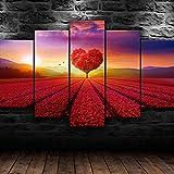 5 Piezas Lienzo Poster HD Arte De La Pared Impresa Paisaje del árbol del corazón de la naturaleza Decoración Dormitorio El Hogar Pintura De La Lona 5 Piezas Cuadro sobre Impresión Lienzo