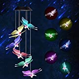 Jicjocy Solar Wind Chime Butterfly Led Light Indoor Decorations, Home Solar Charging LED Lights Portable Waterproof Lamps Outdoor Solar Memorial Wind Chimes Hanging Lights Yard Decorations