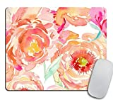 Peach Peony Mouse Pad Custom Floral Print Non-Slip Rectangle Mousepad Watercolor Flowers Design Mouse Pads, Coworker Teacher Gift, for Home and Office