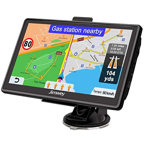 Jimwey Navigationsgerät für Auto Navi LKW Navigation 7 Zoll 16GB Lebenslang Kostenloses Kartenupdate mit POI Blitzerwarnung Sprachführung Fahrspurassistent 52 Europa UK 2020 Karte