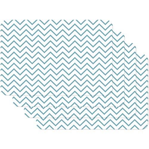 Venilia Weiss-Hellblau Salvamanteles Patrón en Zigzag Azul, Mantelería, Mantel Individual para el Comedor, Apto para Alimentos, 4 tajada, 45 x 30 cm, 59078, Zickzack Fein Blau, 30 x 45 cm