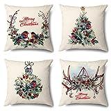 Jotom funda de almohada para cojín de lino y algodón de navidad decorativo para sofa,cama,silla cuadradas 45 x 45 cm,juego de 4 (pájaro del tema de la navidad)