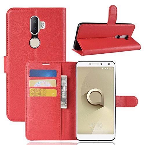 LMFULM® Hülle für Alcatel 3V 5099D (6 Zoll) PU Leder Magnet Brieftasche Lederhülle Litschi Muster Standfunktion Ledertasche Flip Cover für Alcatel 3V Rot