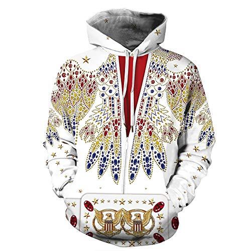 Elvis Presley Gleicher Stil Klassischer Hoodie Lässige Langarm-Kapuzenpullover mit Kordelzug Pullover für Erwachsene