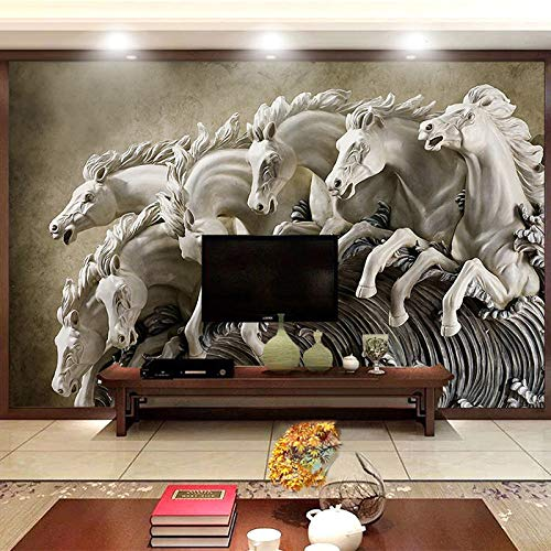 DZBHSCL 4D Behang muurschilderingen, modern creatief driedimensionaal wit Horse fornuis groot kunstdruk fotobehang poster voor thuis woonkamer bank Tv achtergrond veranda slaapkamer muur decoratie 76in×108in 190cm(H) X 270cm(W)