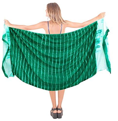 LA LEELA Badebekleidung Sarong Geschenke authentischen Tie-Dye-Badeanzug Pareo hawaiische Coverup Strand eine, eine Größe: Länge: 88 | Breite: 42, Grün_k592