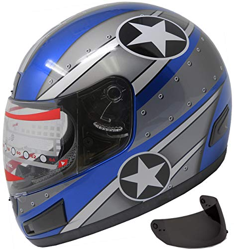 MRC Motorcycle Street Sport Bike Helmet Full Face Helmet FF98 2 Visors Comes with Clear Shield and Free Dark Tinted Shield (144_Blue, S)