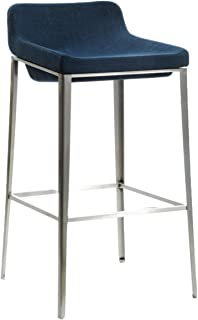 Limari Home Mandilyn Collection Mid-Century Modern Upholstered Fabric Bar Stool with a Low Back, Recessed Seat, Footrest, and Tapered Stainless Steel Legs, Blue