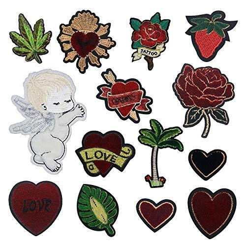 Ropa Parches/Parches bordados,para la reparación/DIY camisetas, jeans, ropa, bolsos y otros textiles, 14pcs corazones rojos flores hojas angelito