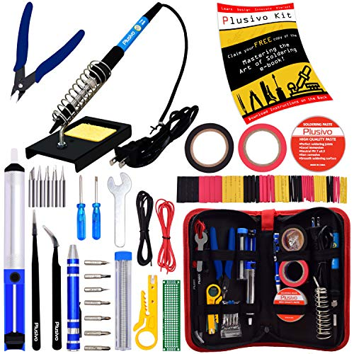 Soldering Iron Kit - Soldering Iron 60W Adjustable Temperature, Solder Wire, Soldering Stand, Wire Cutter, Solder Tips, Desoldering Pump, Tweezers, Rosin, Heatshrink Tubes [110V, US Plug] from Plusivo
