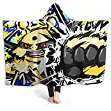Plush Unique Hooded Blanket, Breathable Queen Size Bed Blanket, Electivire Thunder Punch,Throws forNap,Boys,Chair