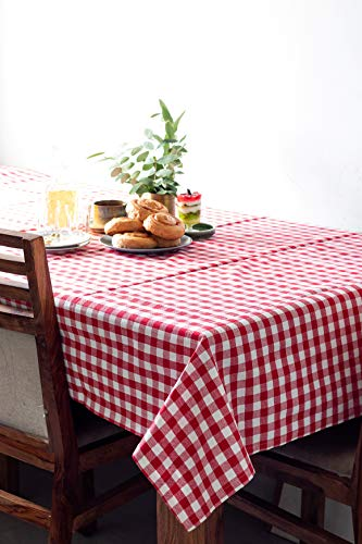 Table cloth, Made with 100% Pure Cotton, Gingham Checks, Red and White of Size 59 X 89 Inches, Rectangular Tablecloth For Dinner Parties, Summer & Outdoor Picnics