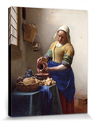 1art1 Johannes Vermeer - Die Milchmagd, 1658-1660 Bilder Leinwand-Bild Auf Keilrahmen   XXL-Wandbild Poster Kunstdruck Als Leinwandbild 50 x 40 cm
