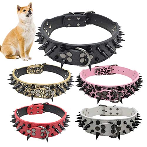 Mothcattl Hundehalsband, Hundewelpen, Kunstleder, doppeltes Segeltuch, bruchsicher, Nieten, Anti-Biss-Halsband