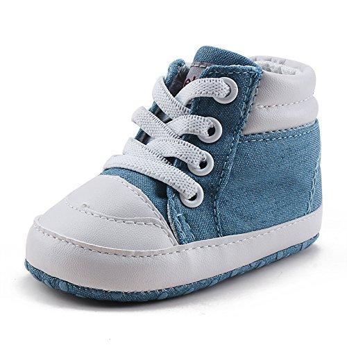 DELEBAO Baby Stiefel Schuhe Warme Babyschuhe Sneakers Schneestiefel Turnschuhe Lauflernschuhe Krabbelschuhe Weiche Sohle Hoch Oben für Kinder Mädchen Jungen (Hellblau,9-12 Monate)