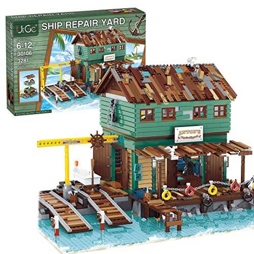SERBVN Schiffsreparaturwerft Bausteine Haus, Modulares Haus Kompatibel mit Lego 21310 Alter Angelladen - 3281 Teilen