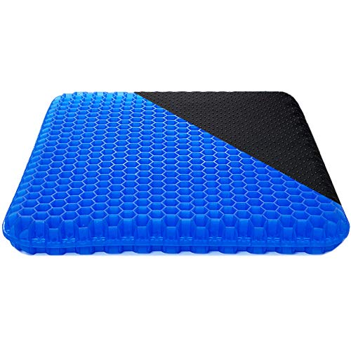 Gel Seat Cushion, 1.6inch Double Thick Egg Seat Gel Cushions, Enhanced Home Office Chair Pads Wheelchair Cushion for Relieving Back Pain & Sciatica Pain (Blue)