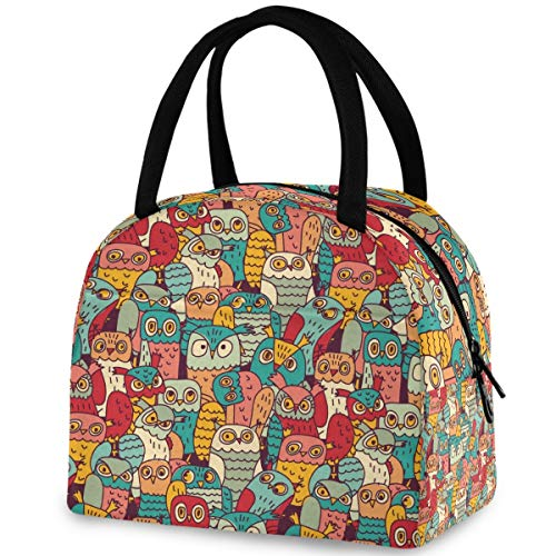 ZzWwR Colors Funny Owls Pattern Reusable Lunch Tote Bag with Front Pocket Zipper Closure Insulated Thermal Cooler Container Bag for Man Women Work Picnic Travel Beach Fishing