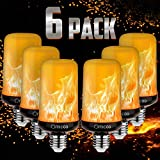 Omicoo 2020 Upgrade Silver Case LED Flame Effect Light Bulb 4 Modes with Upside Down Effect E26 Base LED Bulb Flame Bulb for Christmas Home/Hotel/Bar Party Decoration (6 Pack)