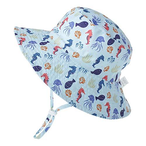 LACOFIA Sombrero de Sol para bebé niño Ajustable Gorro Verano de Pescador para niños ala Ancha para Exteriores/natación/Playa/PiscinaBeige 3-7 años