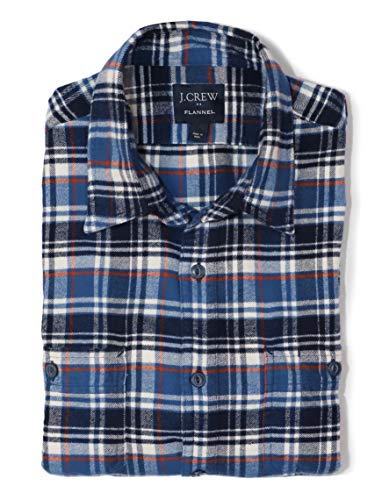 J.Crew Mercantile Men's Slim-Fit Long-Sleeve Plaid Flannel Shirt (Medium, Blue/Orange/Navy)