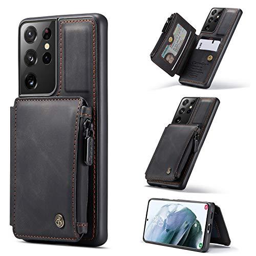Case Cover, Custodia per Samsung Galaxy S21 Ultra Portafoglio Cassa con supporto per carta, Slot per schede in cuoio PU Premium PU con custodia a doppia chiusura magnetica e funzione antigelo RFID