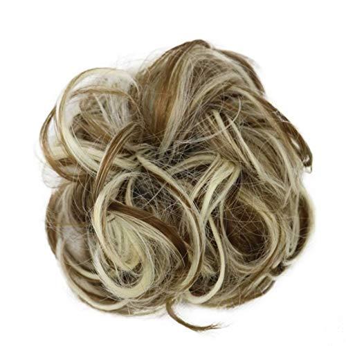 Femmes Hot synthétique flexible cheveux bouclés Buns Scrunchy Chignon élastique Messy onduleux Chouchous Wrap Ponytail Extensions for les femmes pour les femmes Cosplay Party (Color : 09)