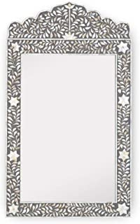 Traditional Handmade Floral Design Mother of Pearl Inlay Crested Mirror in Grey