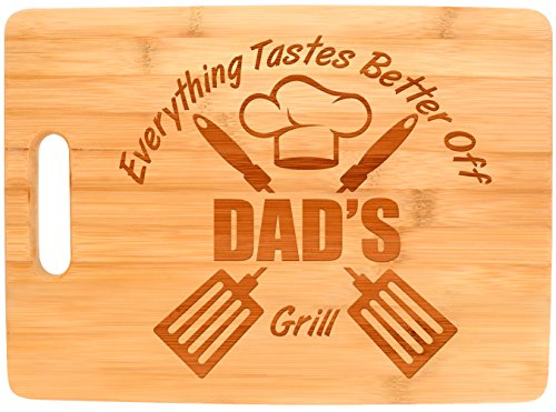 Laser Engraved Cutting Board Everything Tastes Better Off Dads Grill Gifts for Dad Grilling Gifts Dad Birthday Gift Dad Grill Accessories Big Rectangle Bamboo Cutting Board