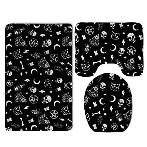 Skull Cat Moon Gothic Pattern Black Tub-Shower Bath Rug Set - 3 Pack Memory Foam Anti Slip Bathroom Rug/Large U-Shaped Bath Mats/Lid Cover Fast Dry Super Absorbent Shower Mat Tub Rug