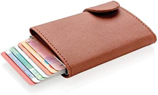 Santhome Card Holder Wallet, Mens Minimalist Slim Metal RFID NFC Blocking Contactless Card Protector Security Pop up wallet (Brown)