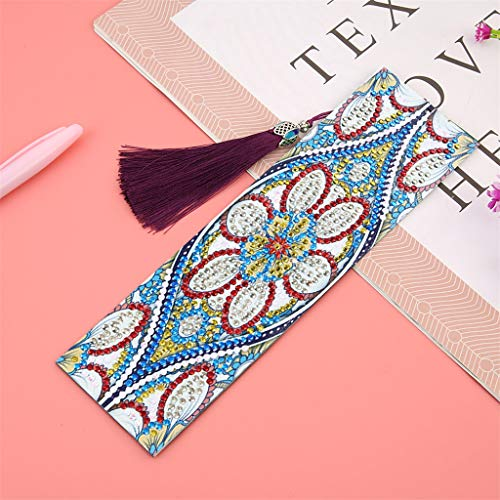Mandolin Flowers Diamond Painting Bookmarks -Diamond Painting Kits for Adults Kids Partial Drill 5D DIY Crystal Rhinestone Embroidery Arts Craft Leather Canvas Reading Tower