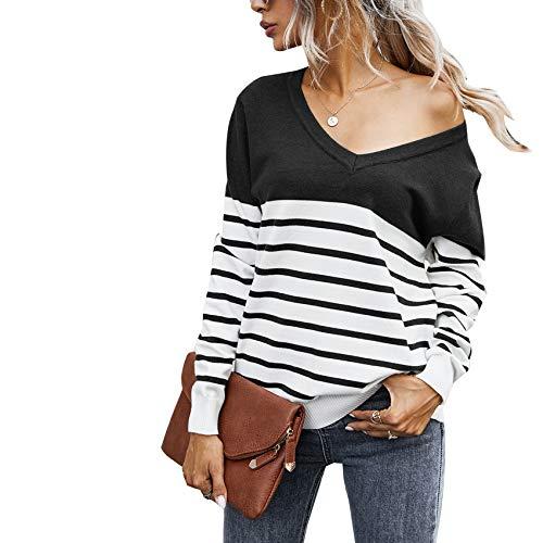 YZANYFQH Herbst/Winter Damen V-Ausschnitt Gestreifte Farbe Passenden Losen Pullover Frauen